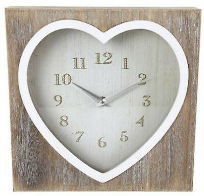 Shabby Chic Country Style Lime Wash Square Heart Mantel Wall box Clock Home Gift