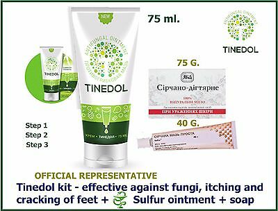 TINEDOL KIT 3 PCS effective weapon against fungi soap sulfuric ointment 100%