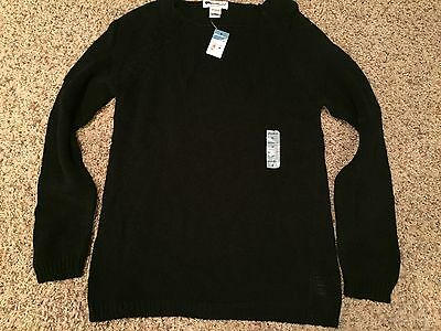 Eddie Bauer Vintage Black Sweater Cotton Loose Knit Medium with tags!