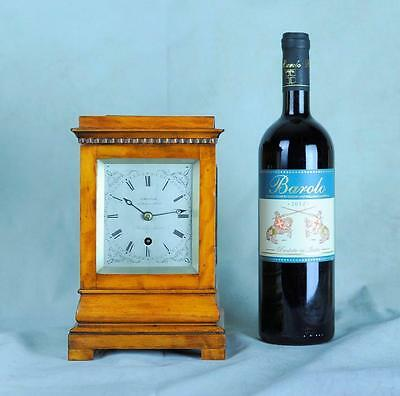 Small Satinwood English Library Clock 4 Glass