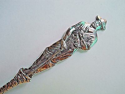 Sterling Silver Spoon Figural 2 Sided Handle Miner and Native No Engraving Blank