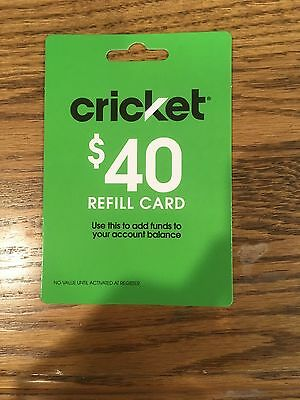 Cricket $ 40 dollar refill card USPS Mail delivery FREE SHIPPING!