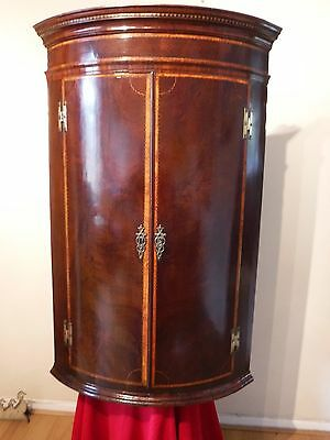 Georgian inlaid Mahogany bow front corner cabinet with spice drawers