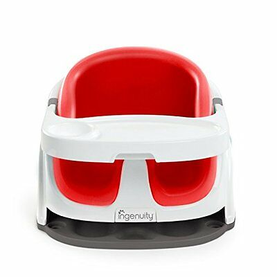 3-Point Harness Baby Seat 2-in-1 (Poppy Red) w/ Removable Foam Cushion, Tray