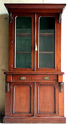 GORGEOUS Victorian Flame Mahogany Bookcase / Display Cabinet - c.1900 *DELIVERY*