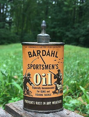RARE Vintage BARDAHL Sportsmen's Oil Guns Fishing Tackle Tin Can Cool GRAPHICS
