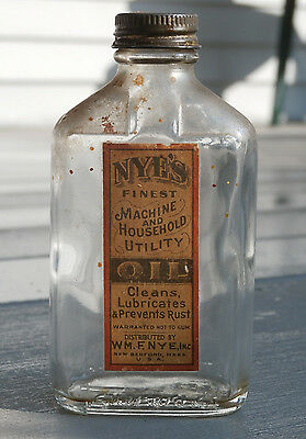 Antique NYE'S FINEST MACHINE AND UTILITY OIL Labeled Bottle, NEW BEDFORD, MASS.