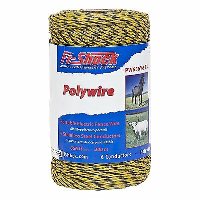 Fi-Shock Electric Fence Poly Wire Shock Yellow Stainless steel Lightweight