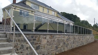 Stainless Steel Balustrade Posts + Glass clamps & handrail saddle grade 316