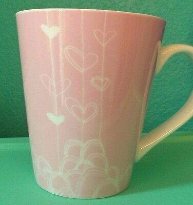 2014 Starbucks Pink White Heart Strings Coffee Mug Cup Good Condition