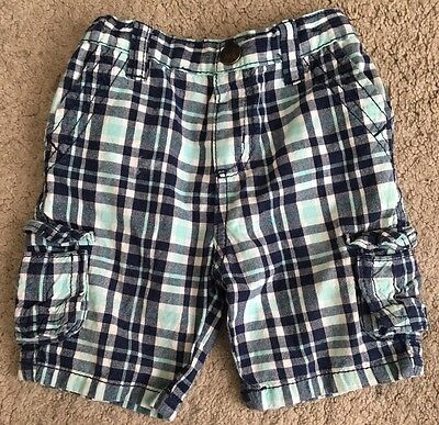 Little Rebel Toddler Boys Turquoise/Blue Check Shorts Adjustable Waist 12-18m