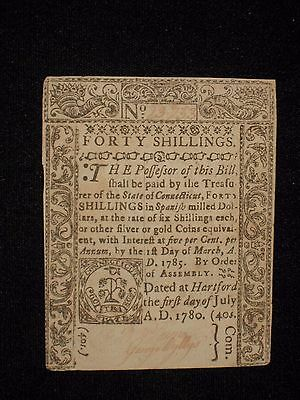 US CT Colonial Currency - 40 shillings - July 1, 1780 ** CT-240 ** (CC-226)
