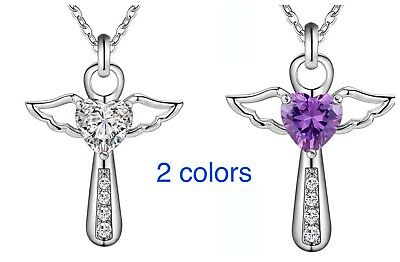 925 Sterling Silver CZ Cubic Crystal Angel Wing Heart Cross Pendant Necklace N33