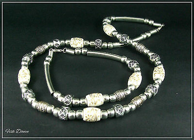 Antique Silver Necklace & Bracelet Set With Gold & Ivory Coloured Beads (22)