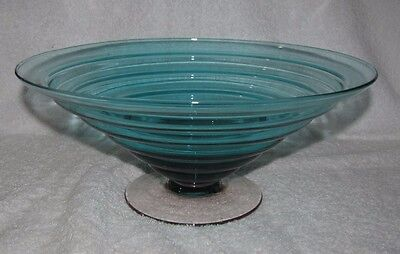 "Blenko 11.5"" Mid Century Teal Blue & Pink  Glass CENTERPIECE BOWL COMPOTE Footed"