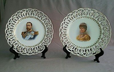 Set of 2 KING GEORGE V  and QUEEN MARY Royal Commemorative Ribbon Plates
