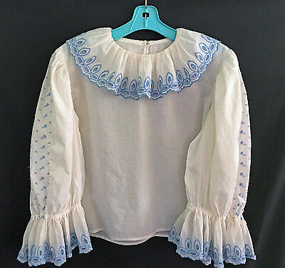 Vintage Dirndl Bavarian Top Blouse White With Blue Embroidery Size M