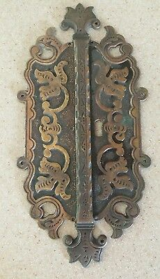 Antique 2 Brass Victorian Ornate Double Door Back Plates 1 Keyhole • Vintage