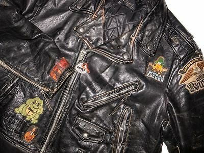 VTG Hells Angels (?) Heavy Leather Biker  Jacket by LESCO, Sz 50