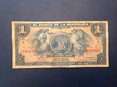 -Colombia 1938 One 1 Peso Oro   P 385   -  400 years founding of Bogota
