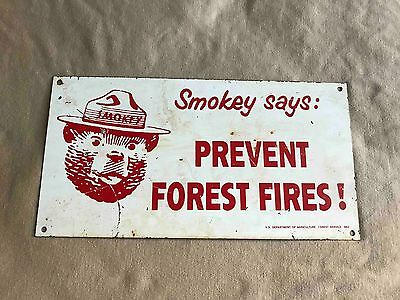 Vintage Smokey the Bear Say's Prevent Forest Fires Metal Campground Sign