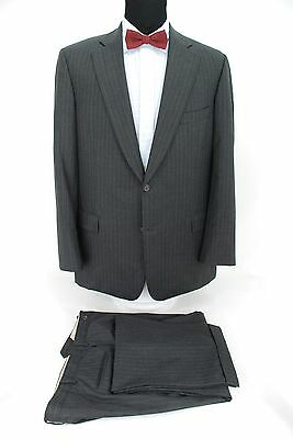 Paul Stuart 2Btn Men's Suit Gray Stripe Silky Powder 100% Wool 1/4 lined 45L