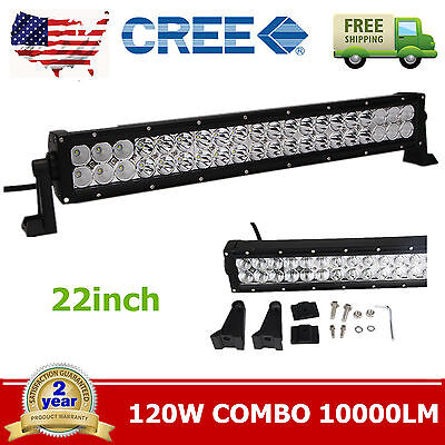 "22"" 120W CREE LED Work Light Bar Spot Offroad Driving Lamp Truck Jeep Auto TC"