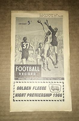 1966 Golden Fleece Night Premiership Football Record - North Melbourne V Fitzroy
