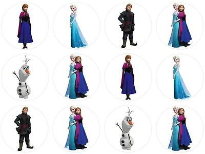 12 Frozen Edible Wafer Paper Cupcake Toppers