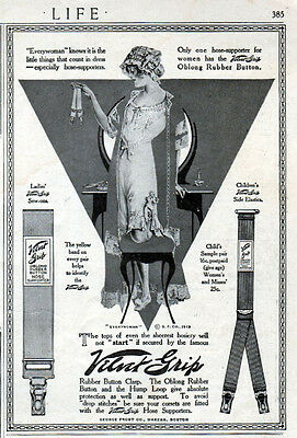 1913 Velvet Grip Hose Supporters ad  --Illustrated by ---Coles Phillips --=635