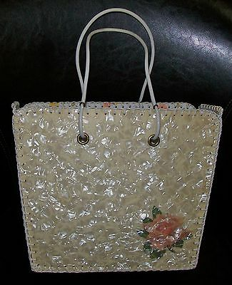 LARGE VINTAGE RETRO CARD ART CRAFT TOTE / SHOPPING - lovely !! 32x25x12cm