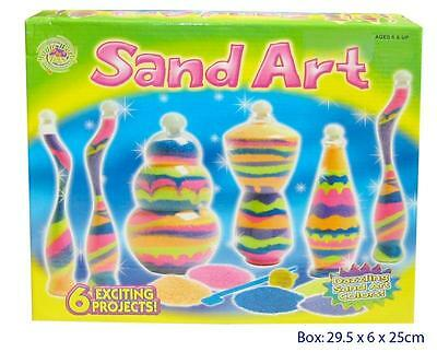 NEW Sand Art Craft Kit Play Set - Includes 6 x Bottles, 15 bags Coloured Sand