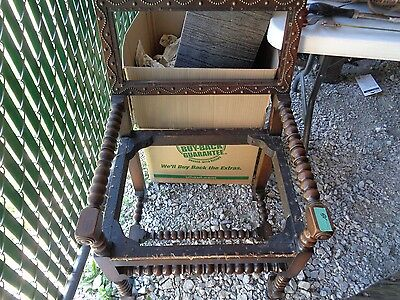antique arm chair with beautiful metal design in excellent condition except seat