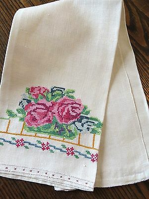 Antique Handmade Linen Hand Towel Embroidery Roses Flowers Fabulous piece