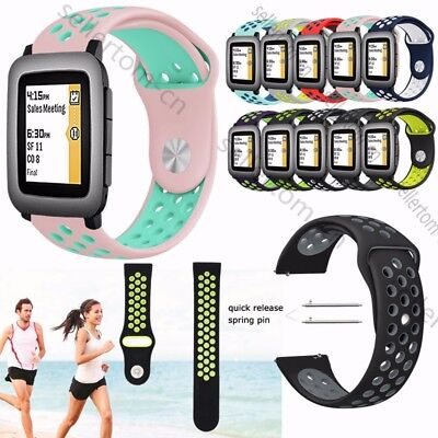 For 22mm Pebble Time 2 / Steel Bracelet Silicone Sport Watch Strap Wrist Band