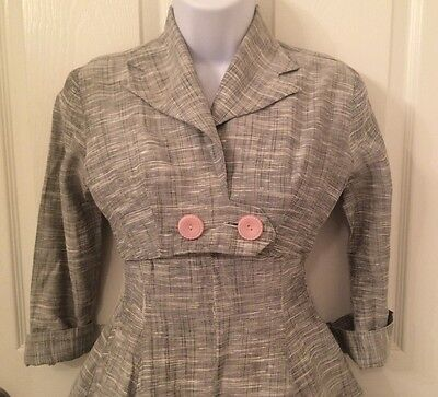 vintage 1950's cotton dress, grey and pink, full skirt, XS