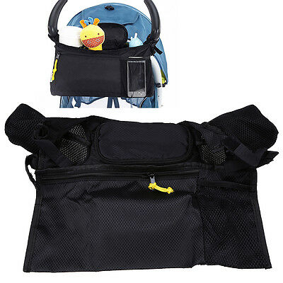 Baby Stroller Organizer Carriage Pram Stroller Toddler Cup Toy Hanging Bag Black