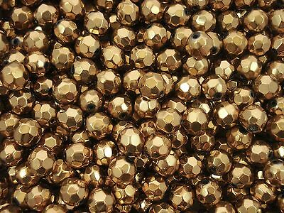 Glass Beads 10mm Faceted Dull Gold 50pc Jewellery Jewelry Spacer FREE POSTAGE