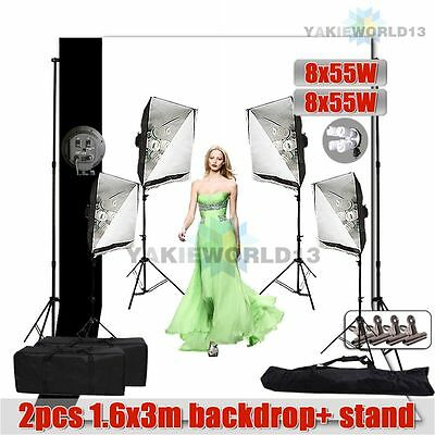 4400W Photography Studio 4 Head Softbox Continuous Lighting Backdrop Stand Kit