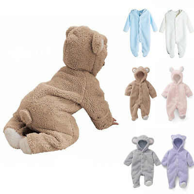 Newborn Baby Infant Boy Girl Cute Romper Hooded Jumpsuit Bodysuit Outfit Clothes