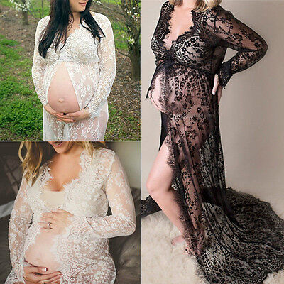 Women Pregnant Maternity Gown For Photography Props Costume Lace Long Maxi Dress