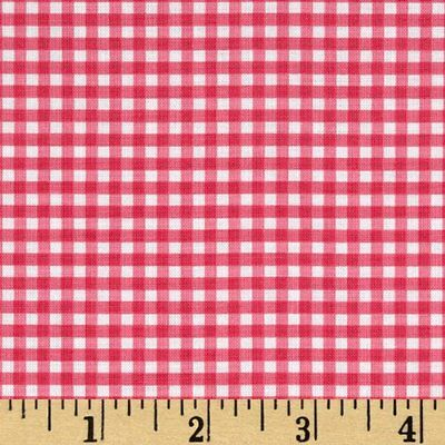 Hot Pink  White Gingham 1/8 Check Bedroom Lined Valance 15 x 70  Handmade