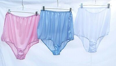 Vtg 3 Pairs Panties size 16 Sheer Silky Pink Blue White Brief XL Lot High waist
