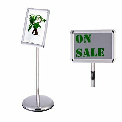 "11.7""x8.3"" Silver Adjustable Pedestal Sign Holder Stand Telescoping Post Poster"