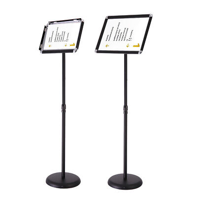 A4 Adjustable Pedestal Sign Holder Floor Stand with Telescoping Post, Poster