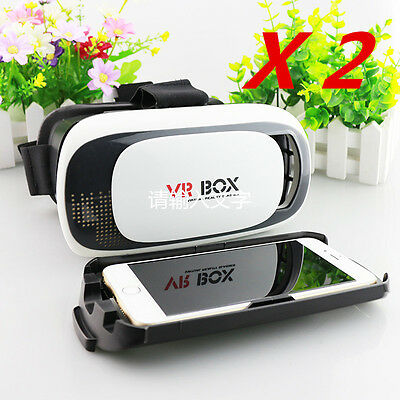 2X Headset Virtual Reality VR BOX Goggles 3D Glasses For iPhone 7 Plus 6 6+ 5S