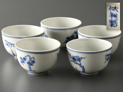 SENCHA Green Tea Ware Blue and White Porcelain Chinese Teacups Set of 5: ZAZ007