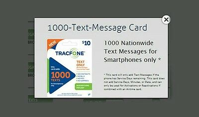 1000 Text Tracfone Refill Active Smartphone - Online Activation
