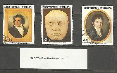 SAO TOME AND PINCIPE 1977 DEATH OF BEETHOVEN (SET of 3) USED