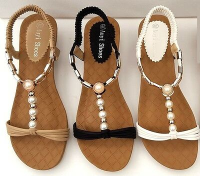 WOMENS Low Wedge Pearl Sandals BLING Heels Dress Ladies Party SHOES All sizes